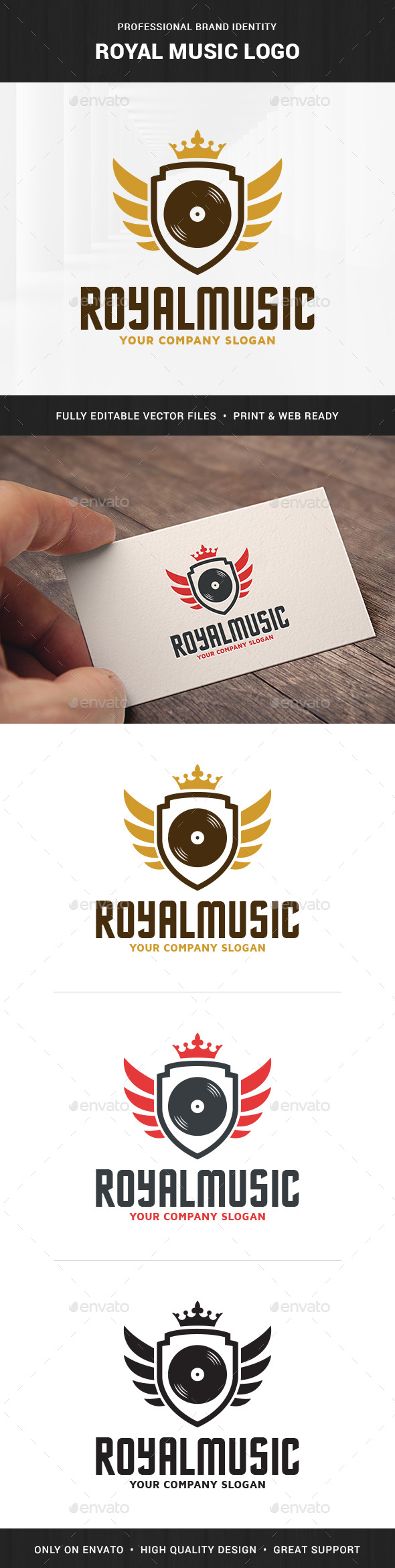 Royal Music Logo Template - Crests Logo Templates