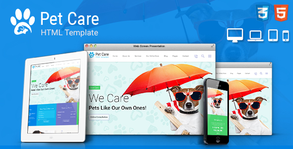 Pet Care – Pet Shop, Veterinary Responsive Site Template