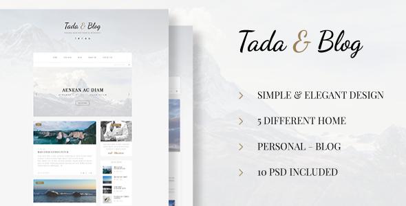 Tada & Blog – Personal Blog PSD