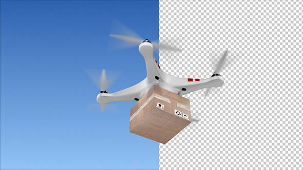 Delivery Quadcopter Drone With The Package