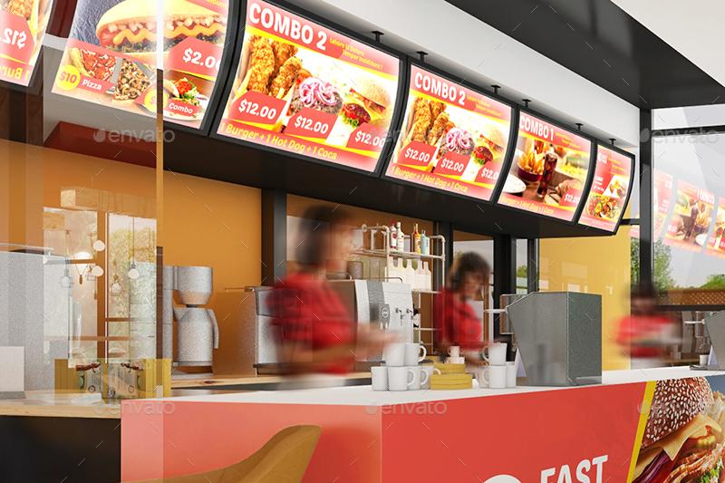 Restaurant Fast Food Outlet Mockups By Wutip Graphicriver