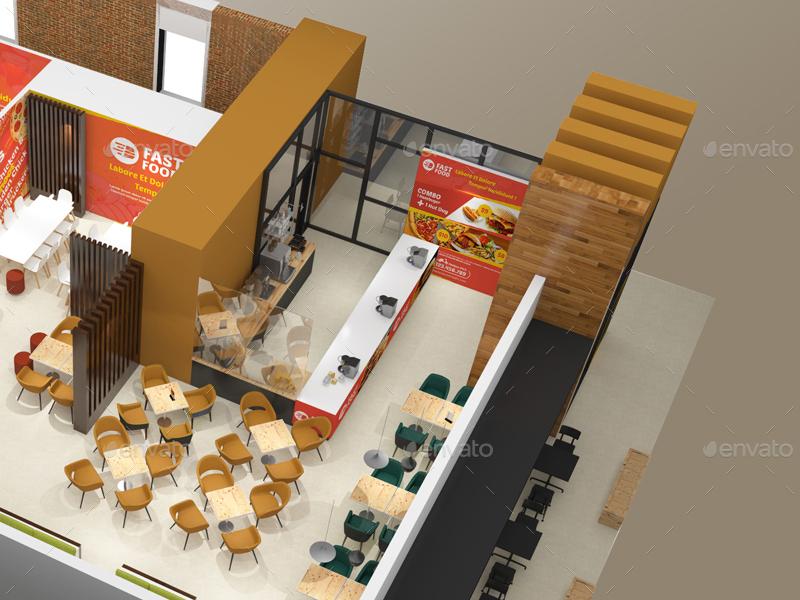 Interior Design Fast Food Plans Restaurant Fast Food Outlet Mockupswutip  Graphicriver