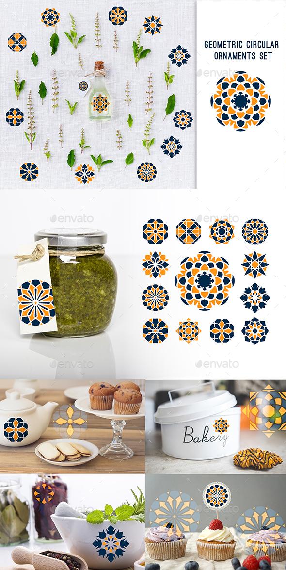 Geometric Circular Ornaments Set - Badges & Stickers Web Elements