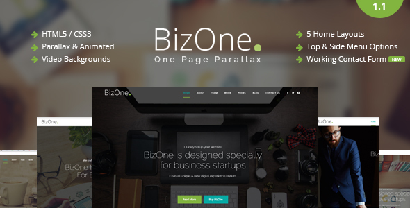 BizOne – One Page Parallax