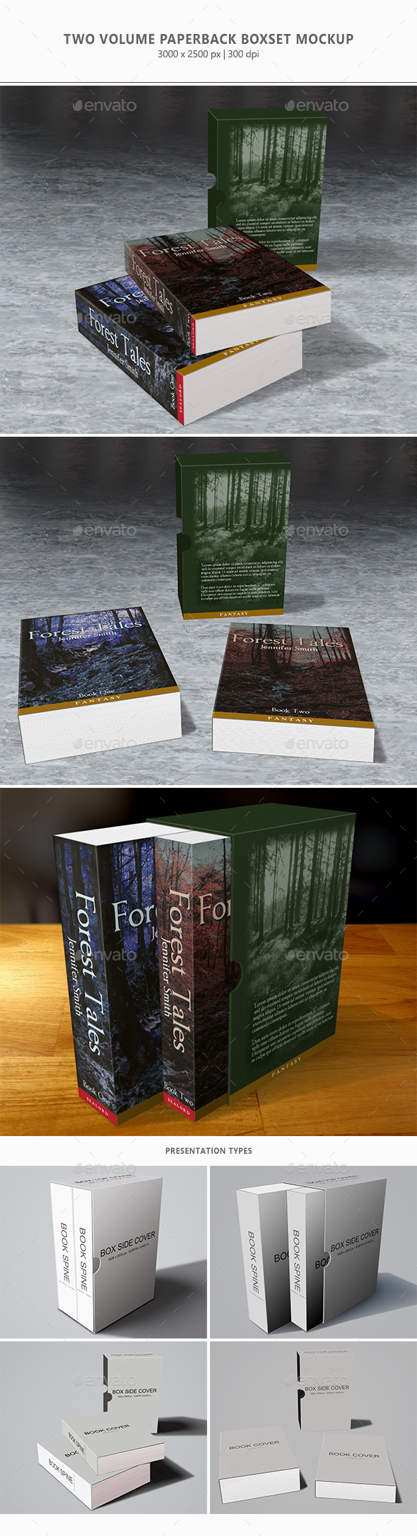 2 Volume Paperback Boxset Mock-up - Books Print