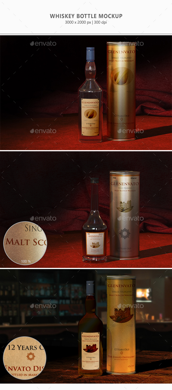 Whiskey Bottles Mock-up - Food and Drink Packaging