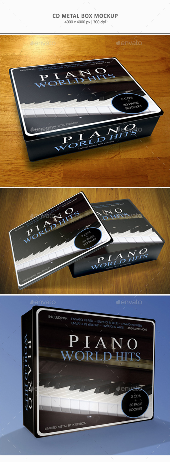 CD Metal-Box Mock-up - Discs Packaging