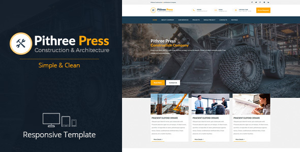 Pithree Press - Construction Business Responsive Muse Template - Corporate Muse Templates