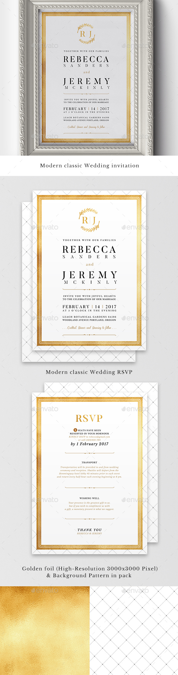 Modern Classic Wedding Invitations by BNIMIT | GraphicRiver