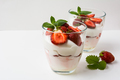 Layered strawberries dessert with cream cheese on white backgrou - PhotoDune Item for Sale