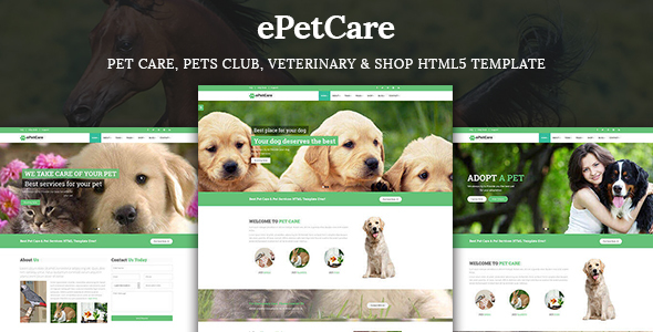ePetCare – Pet Care, Pets Club, Veterinary & Shop HTML5 Template
