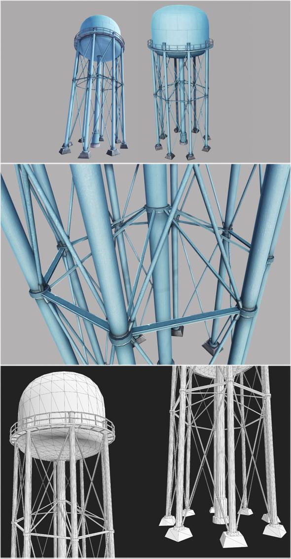 Metal Water Tower - 3DOcean Item for Sale