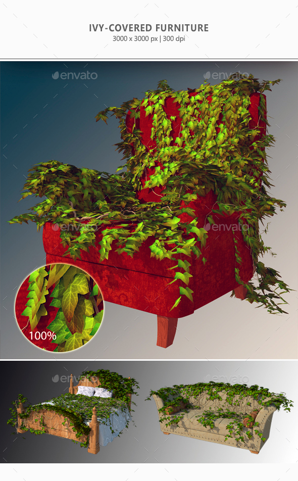 Ivy-Covered Furniture - Abstract 3D Renders