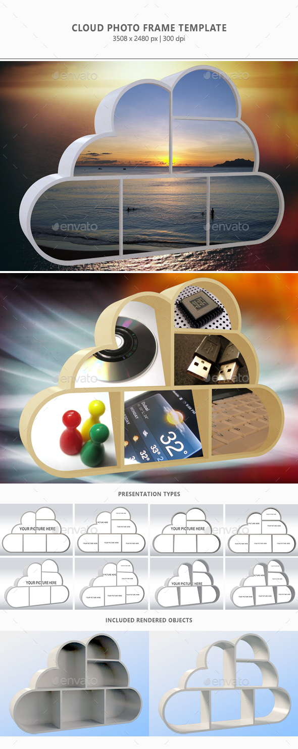 Cloud Photo Frame Template - Photo Templates Graphics