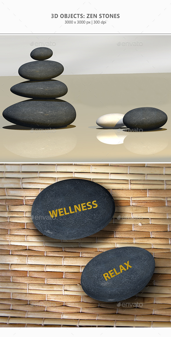 3D Zen-Stones - 3D Backgrounds