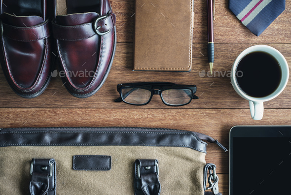 men accessories on old wooden background, Business themes - Stock Photo - Images
