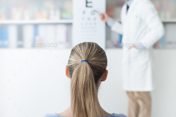 Exam with an eye doctor - Stock Photo - Images