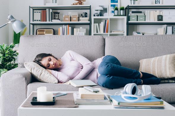 Girl sleeping on the sofa - Stock Photo - Images