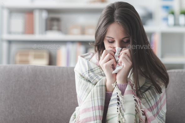 Sick woman with flu - Stock Photo - Images