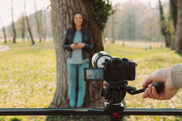 Video shooting at the park - Stock Photo - Images