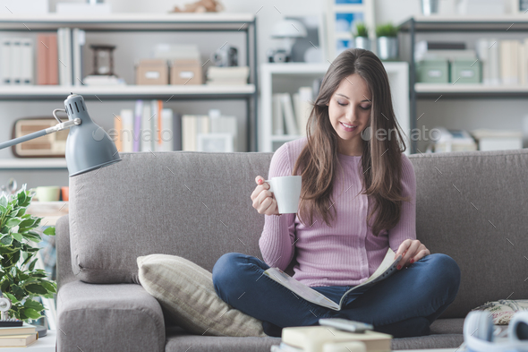 Girl relaxing at home - Stock Photo - Images
