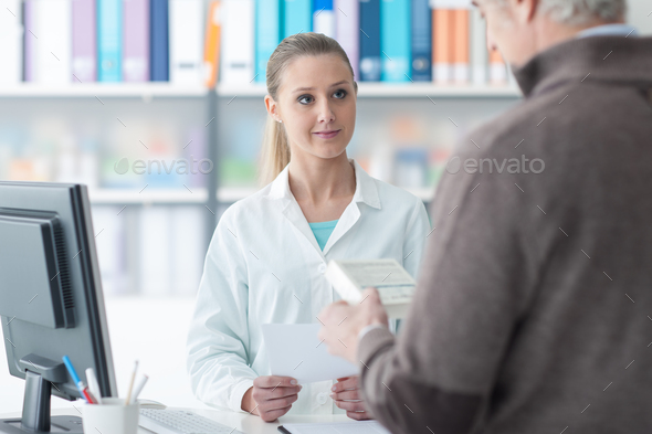 Customer at the pharmacy - Stock Photo - Images