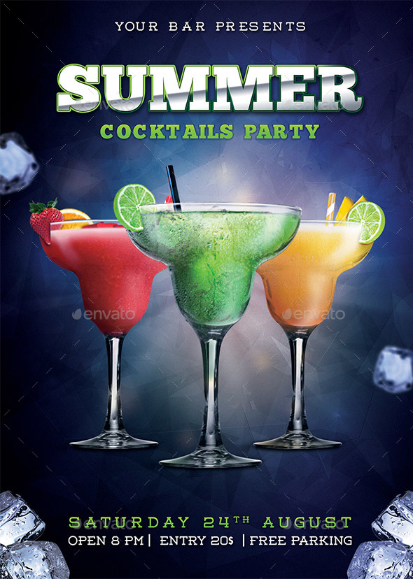 Summer cocktail party flyer by rafiqfarzali graphicriver for Summer drinks for party