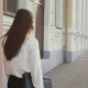 Woman Walking In Old City At Sunset.  - VideoHive Item for Sale
