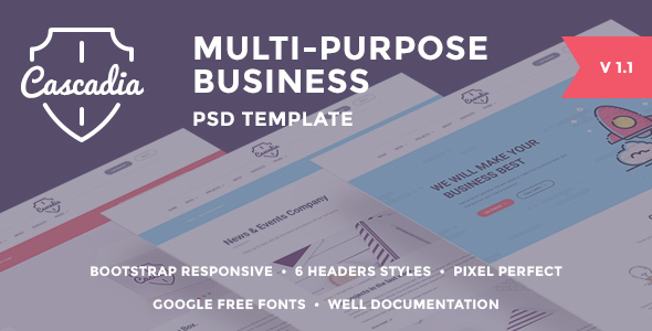 Cascadia - Multipurpose Business Agency/Personal Portfolio PSD Template - Business Corporate