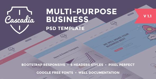 Cascadia multipurpose business agencypersonal portfolio psd 00previewg colourmoves