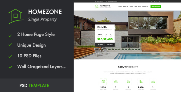 HOMEZONE – Single Property Real Estate PSD Template