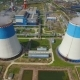aerial view of power plant with large pipes - VideoHive Item for Sale