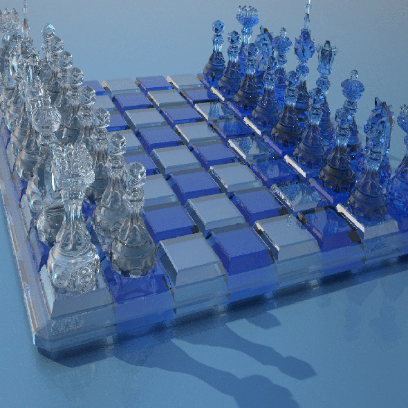 Glass chess - 3DOcean Item for Sale