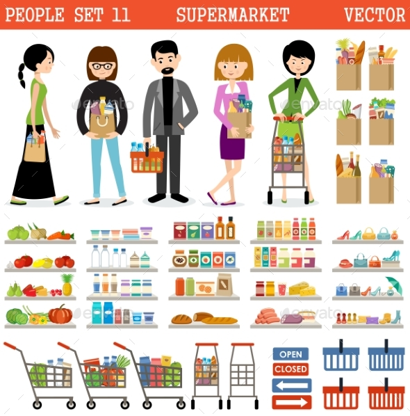 People In a Supermarket With Purchases - Retail Commercial / Shopping