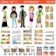 People In a Supermarket With Purchases - GraphicRiver Item for Sale