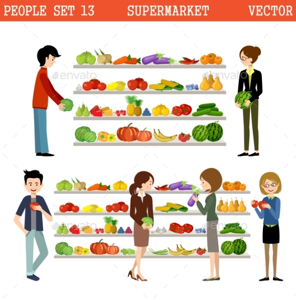 People In a Supermarket With Purchases.  - Retail Commercial / Shopping