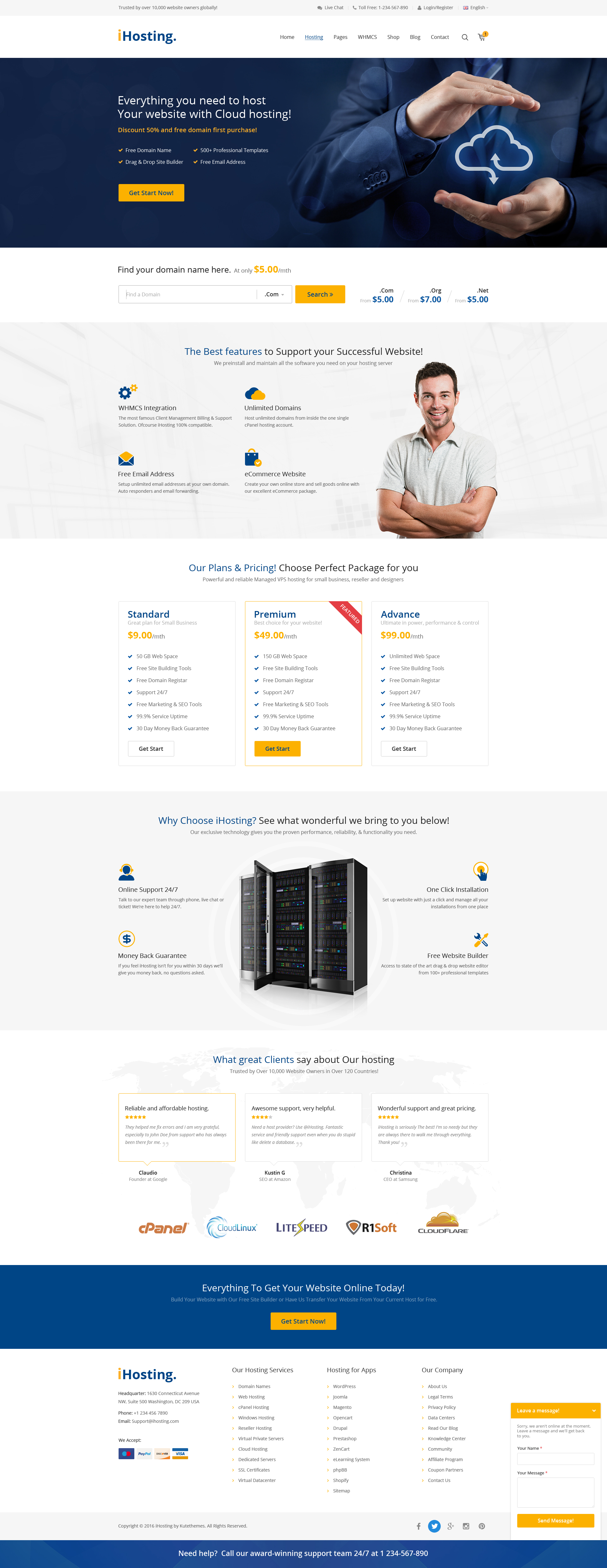 iHosting - SEO WHMCS Hosting, Shop & Business PSD Template by PSDGirl