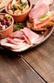 Tapas of salmon, mussels, jamon and olives - PhotoDune Item for Sale