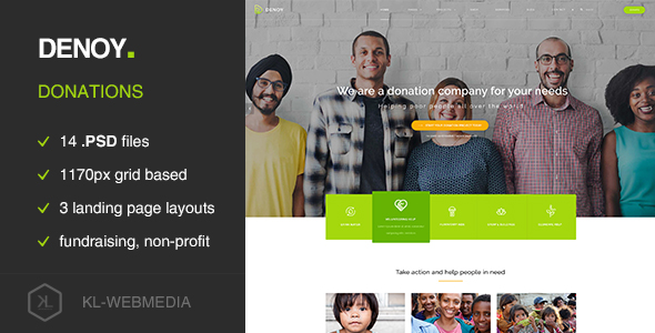 denoy fundraising donation psd template by kl webmedia themeforest