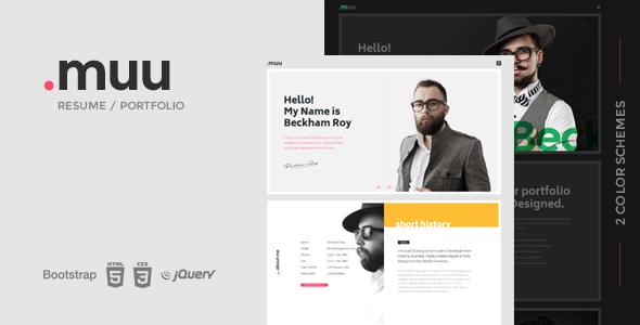 MUU – Unique and Creative Resume / Portfolio Template