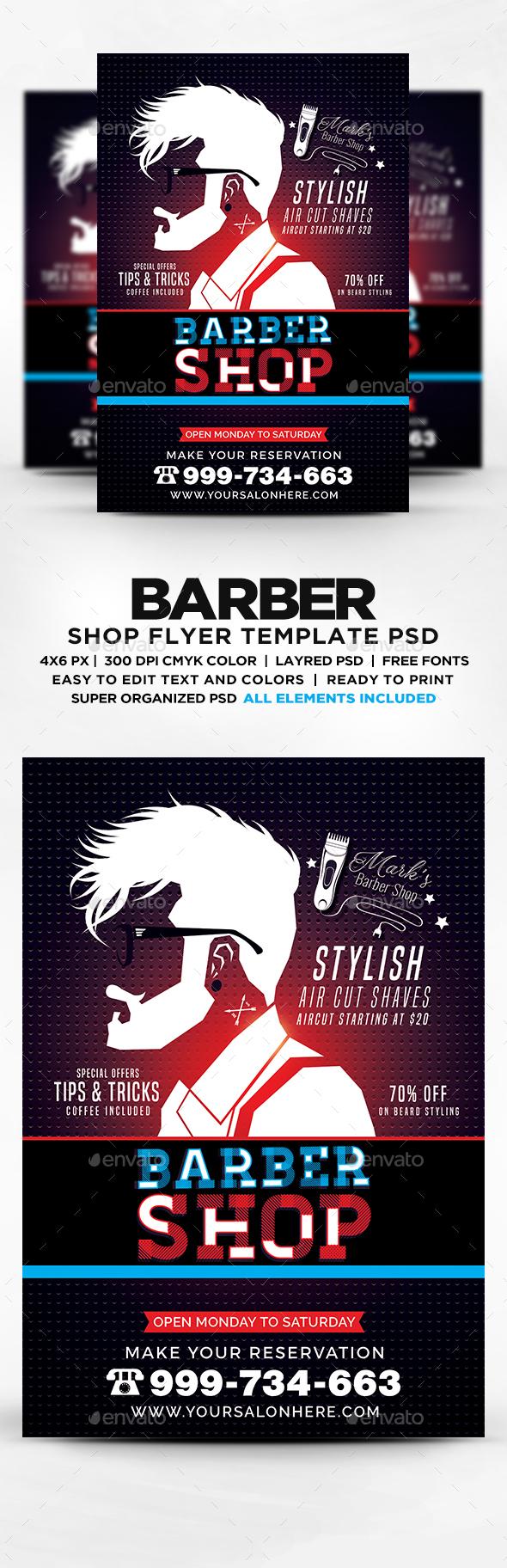 barber shop flyer template psd by designblend graphicriver. Black Bedroom Furniture Sets. Home Design Ideas