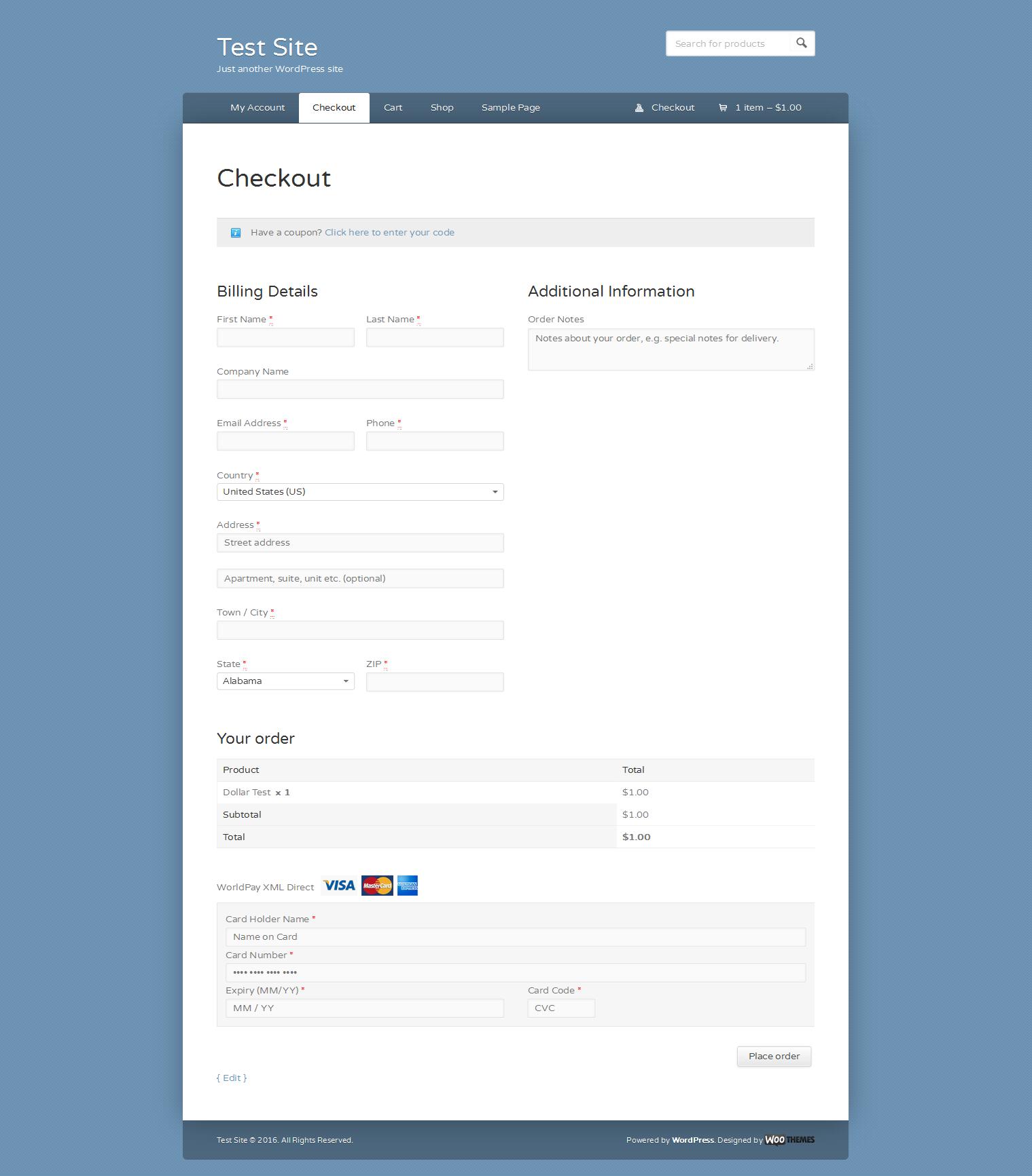 WorldPay XML Direct Gateway for WooCommerce