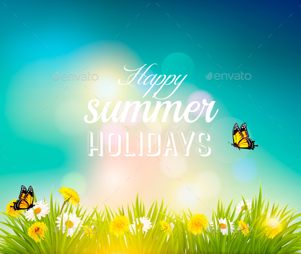 Happy Summer Holidays Background With Flowers