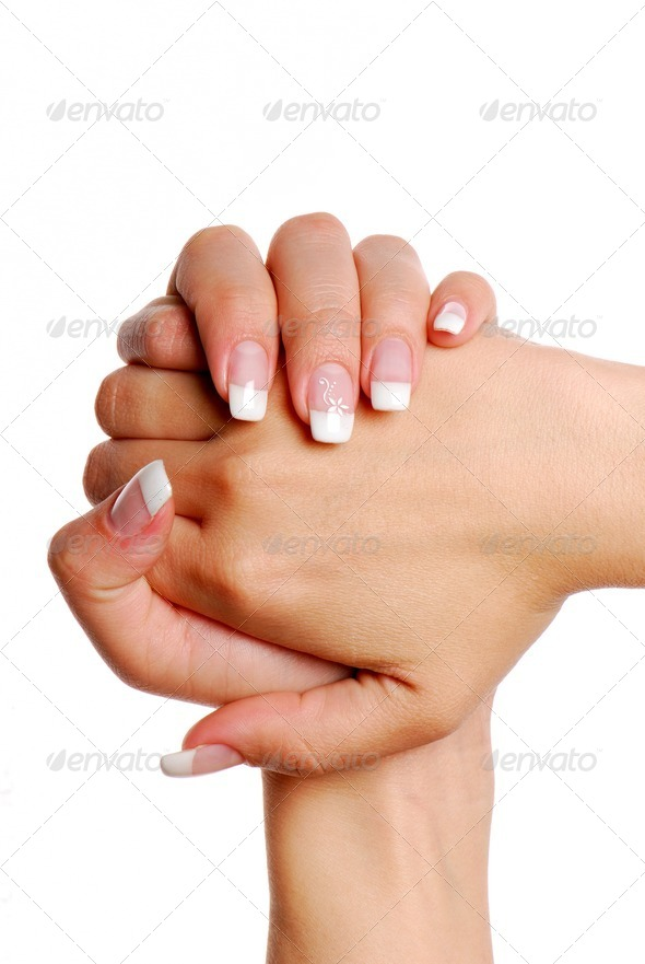 Fingernail. Woman hand. - Stock Photo - Images