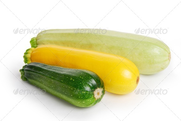 Three fresh marrow squash on white - Stock Photo - Images