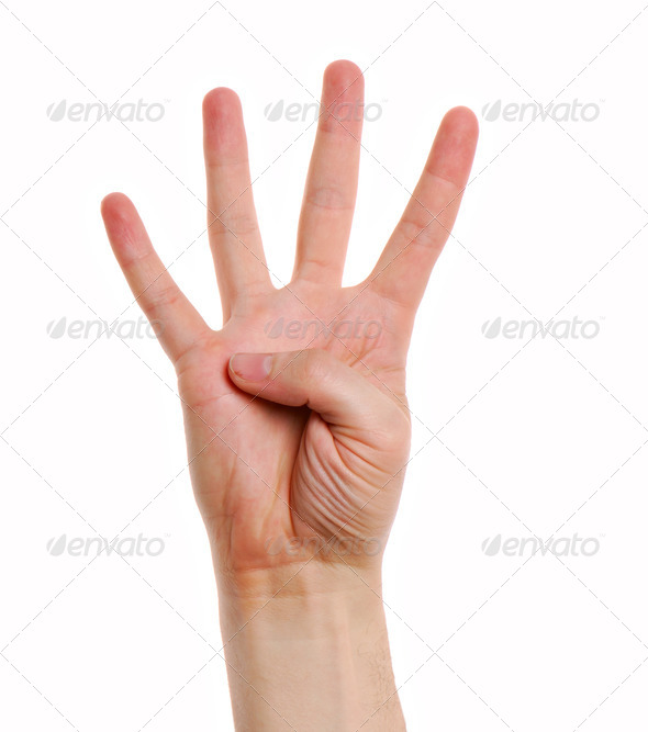 Man hand with  gesture number four - Stock Photo - Images