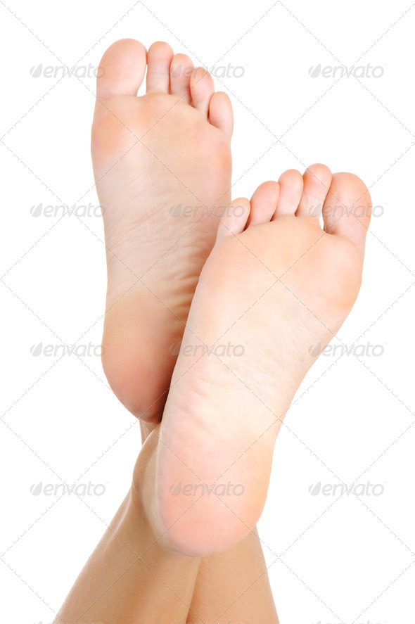 Beautiful pure well-groomed female a foot and a heel - Stock Photo - Images
