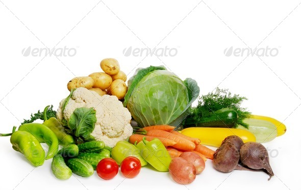 Vegetables isolated on white - Stock Photo - Images
