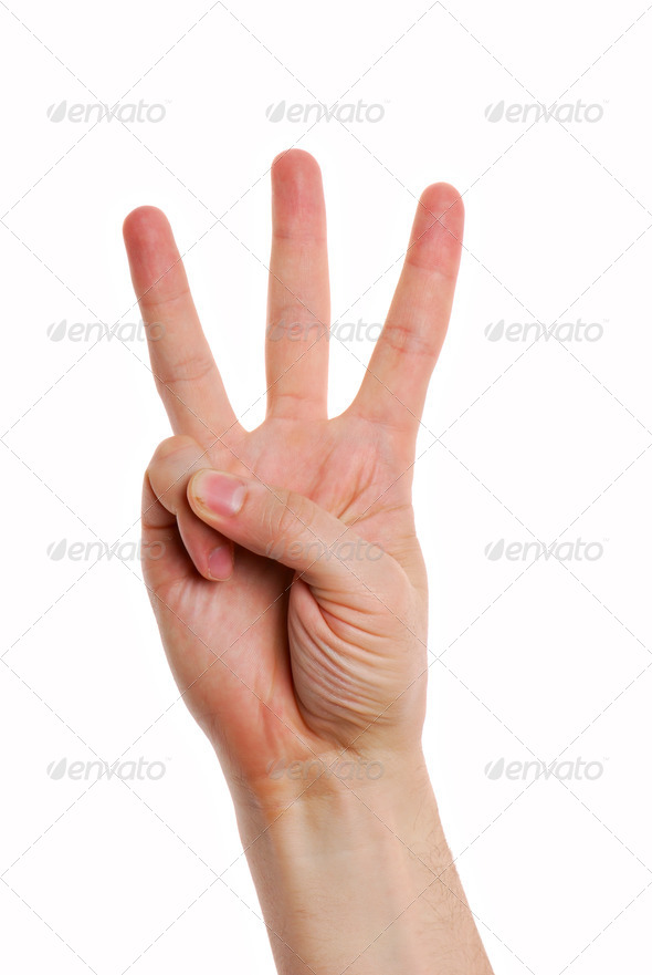 Man hand with  Gesture number three - Stock Photo - Images