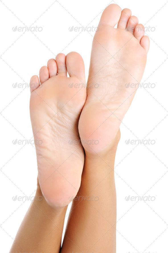Beautiful well-groomed female a foot and a heel - Stock Photo - Images